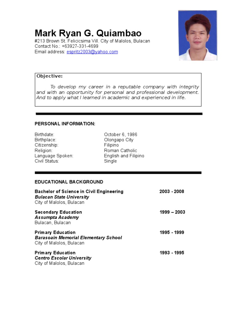 Resume Example Of A Resume In Philippines mark ryan quiambao resume philippines engineering science and technology