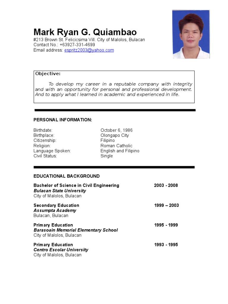 Mark Ryan Quiambao Resume Philippines Engineering Science And - Filipino student resumes ojt