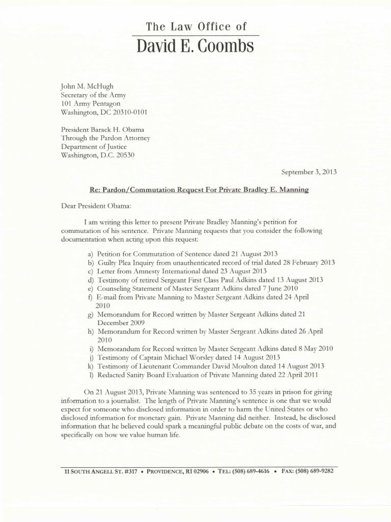 Manning Pardon Request Cover Letter   Chelsea Manning   Pardon on examples of pardon request letters, sample prison letters, sample of victim impact letters,