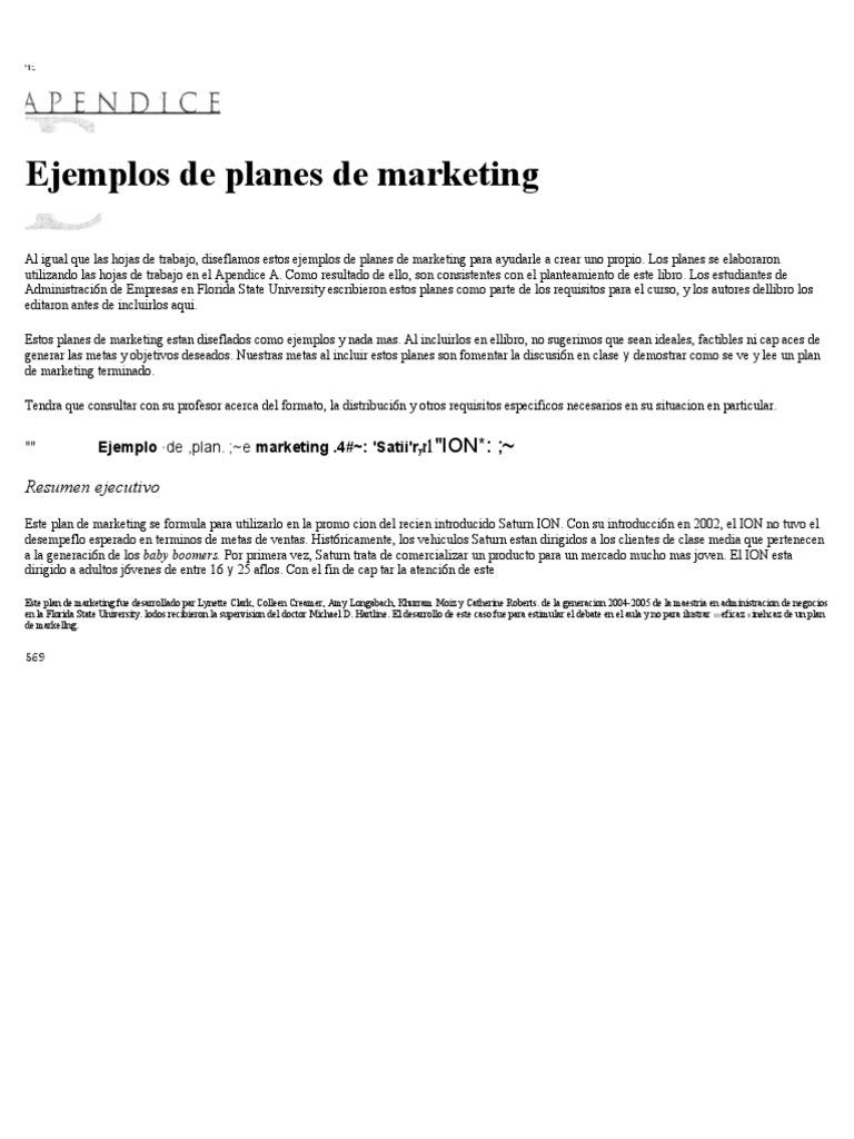 ejemplo de plan de marketing