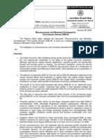 Macro Economic and Monetary Developments Third Quarter Review 2008-09
