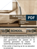 School as an INSTITUTION