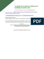 Pendaftaran Seminar Nasional Kimia Dan Pendidikan Kimia 2013