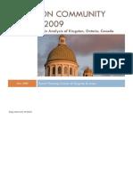 Kingston  Community Profile, SPC, Kingston, Ontario, Canada 2009