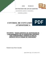 RESUMEN DE MODELAMIENTO DE DISPERSIÓN DE CONTAMINANTES EN LA ATMÓSFERA EMITIDOS POR GENERADORES TERMOELÉCTRICOS MÓVILES EN LA CIUDAD DE GUAYAQUIL.doc