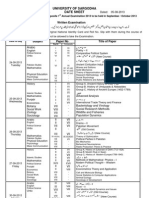 Sargodha University MA/MSC Part 2Date Sheet 2013