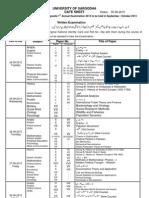 Sargodha University MA/MSC Part 2Date Sheet 2013