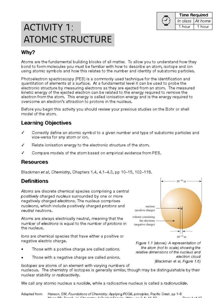Activity 1 Atoms Ion