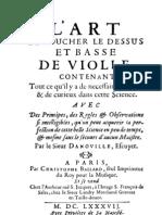 Danoville, L'Art de toucher le dessus et basse de viole (Paris, 1687)
