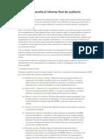 Cómo se desarrolla el informe final de auditoría