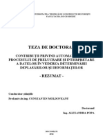 Automatizarea procesului de prelucrare si intretinere a datelor in vederea determinarii deplasarilor si deformatiilor - Popa Alexandra