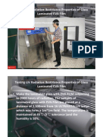 Testing UV Radiation Reststance Properties of Glass Laminated EVA Film