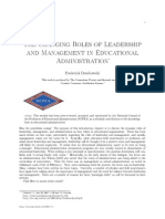 The Changing Roles of Leadership and Management in Educational Administration