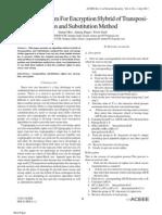 Novel Algorithm For Encryption:Hybrid of Transpositionand Substitution Method