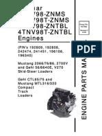 SL5640E SL6640E V270 Skid Loader Yanmar 4TNV98 Engine Parts Manual 917304C
