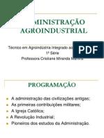 Aula 1 ADMINISTRAÇÃO AGROINDUSTRIAL
