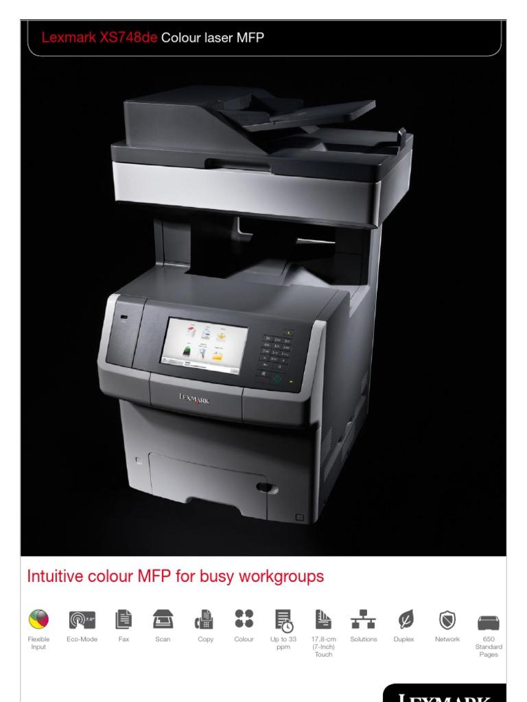 Midshire Business Systems - Lexmark XS748de - Colour Laser MFP Brochure |  Printer (Computing) | Image Scanner