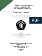Analisis Yuridis Normatif Terhadap Pemalsuan Akta Otentik Yang Dilakukan Notaris