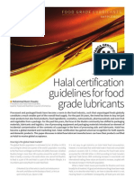 Dr. Chaudry  Our President. Gives his thoughts on halal certification for food grade lubricants in New Food Magazine,