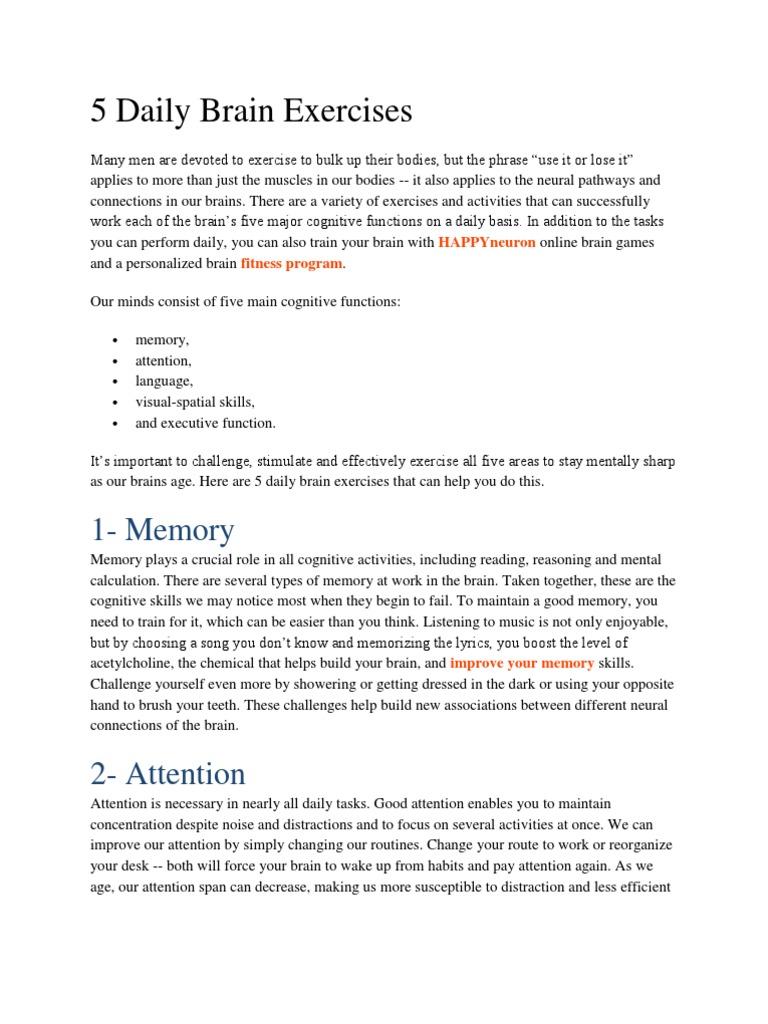 5 Daily Brain Exercises | Brain | Neuron