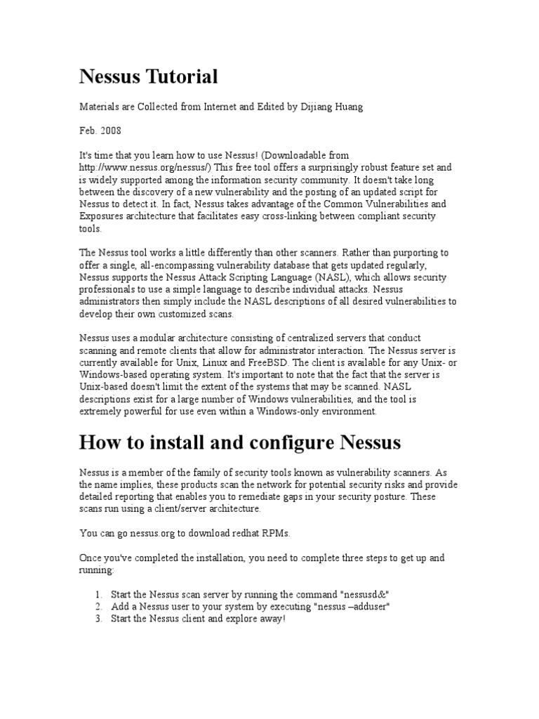 Nessus Tutorial   Information Technology Management   Computing