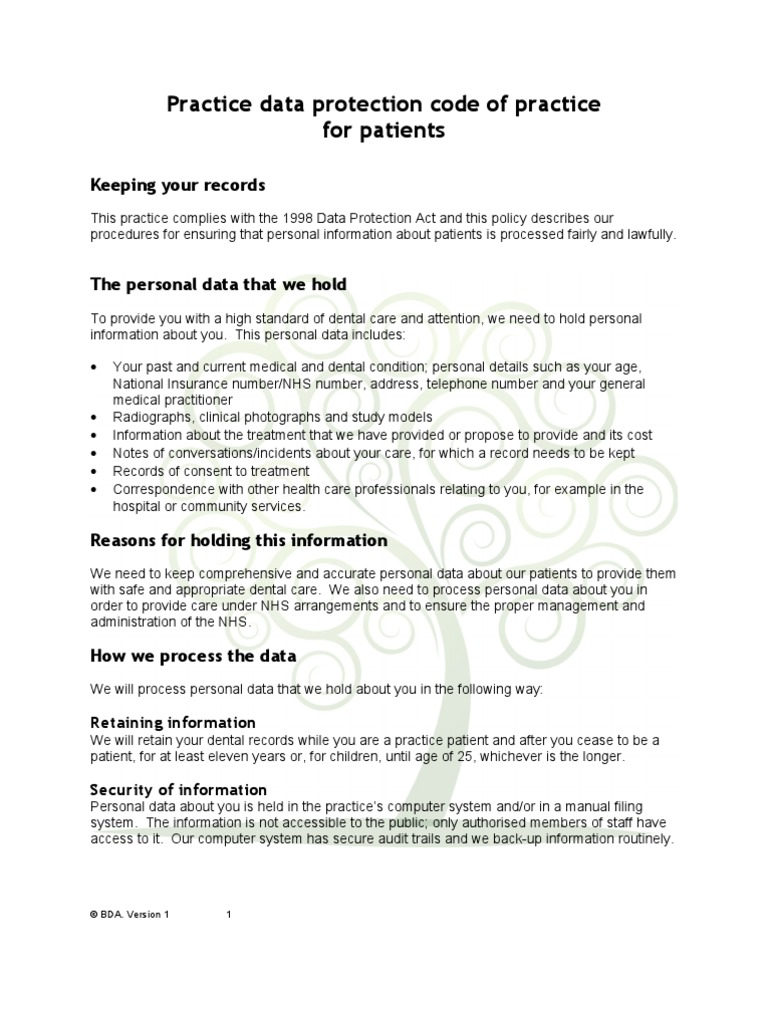 Data Protection Policy V1 Personally Identifiable Information Security And Procedures National Health Service