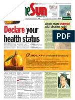 thesun 2009-06-19 page01 declare your health status