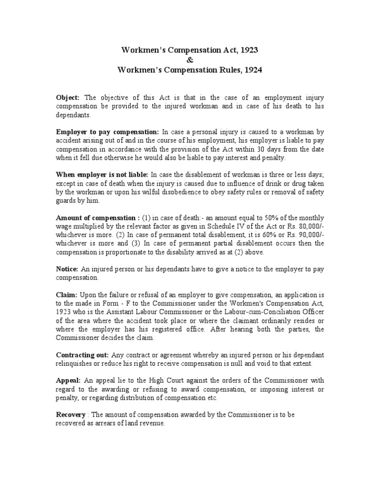 objectives of workmen compensation act 1923