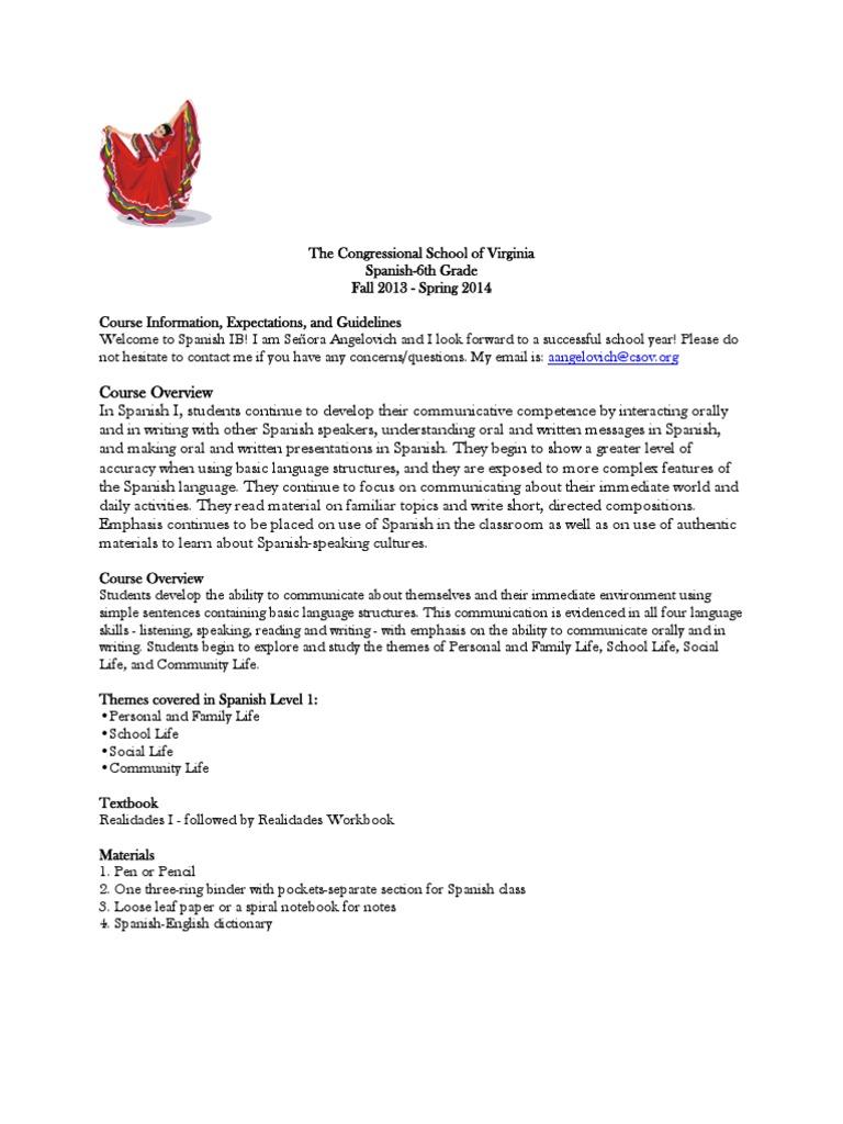 Workbooks workbook in spanish three years : csov syllabus 6th grade spanish | Homework | Educational Psychology