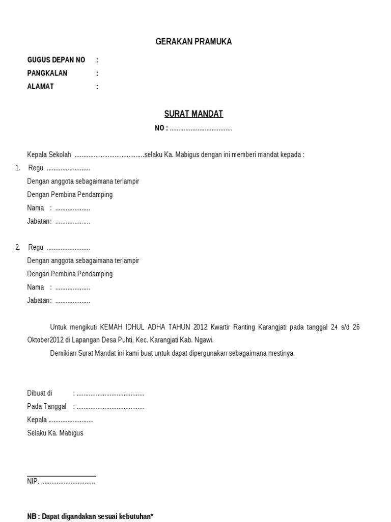 Surat Mandat Sekolah