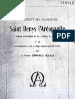 Em Bulhak AUTHENTICITE DES OEUVRES DE SAINT DENYS L'AREOPAGITE Rome 1938