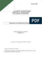 BAC Sciences Physiques Et Chimiques 2009 ST2S