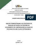 Anlise Termoeconmica Do Processo de Gerao de Vapor e Do Sistema de Acionamento de.. - Dissertao de Mestrado PPGEM Leandro Gomes Gonalves 2005