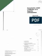 de Riz, Cavarozzi y Feldman - Concertación, Estado y sindicatos en la Argentina contemporánea