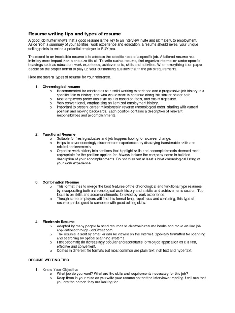 Resume Writing Tips And Types Of Resume Resume File Format