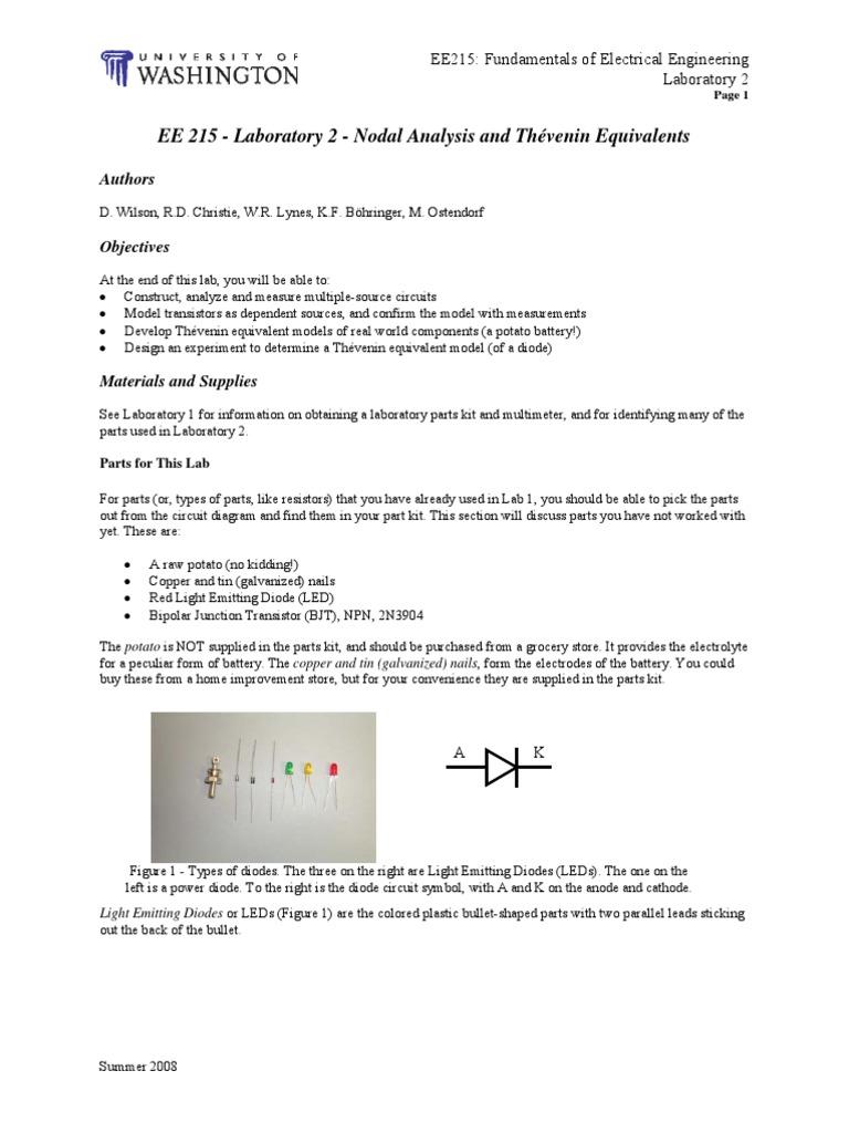 Ee215 Lab2 Bipolar Junction Transistor Circuit Diagram Led Symbol