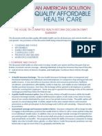 Democrats Draft Health Care Reform Bill Summary