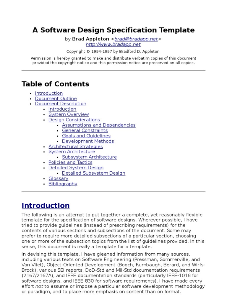 Sds Template Component Based Software Engineering System