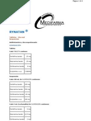 tabletas de rynatan usadas en diabetes