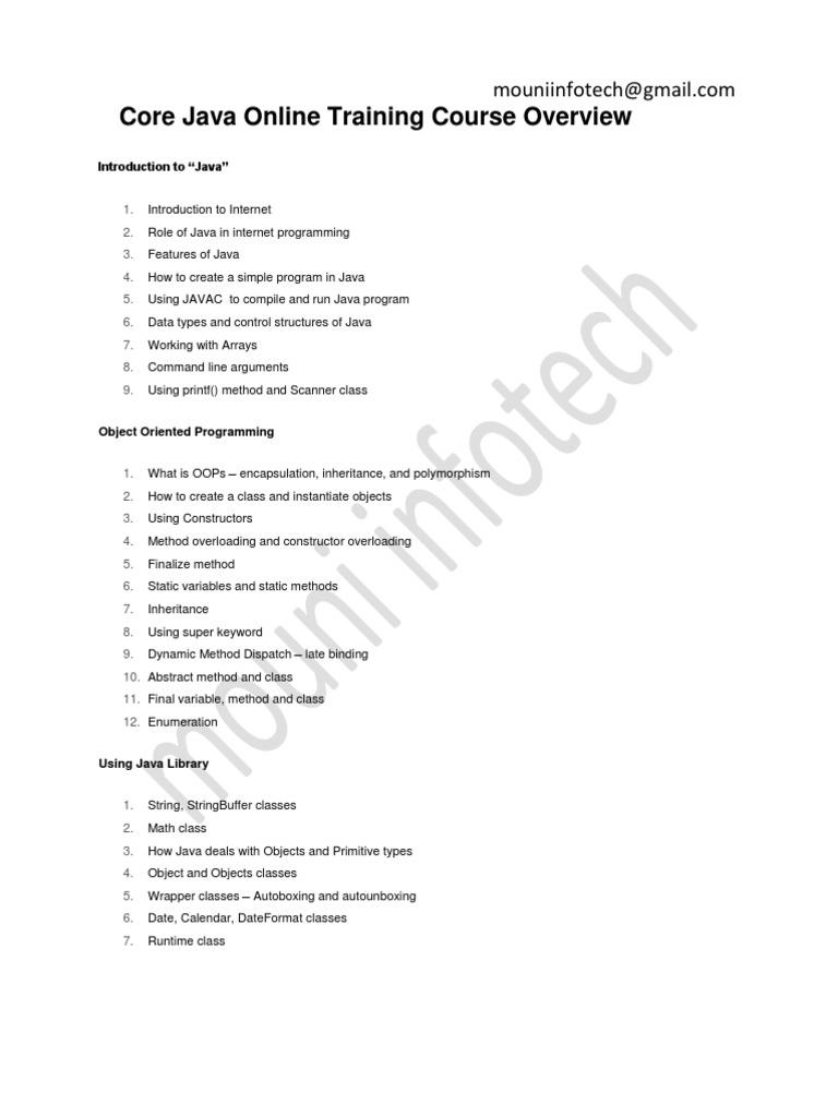 Core Java Course Content   Method (Computer Programming