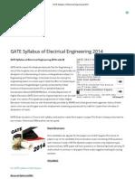 GATE Syllabus of Electrical Engineering 2014