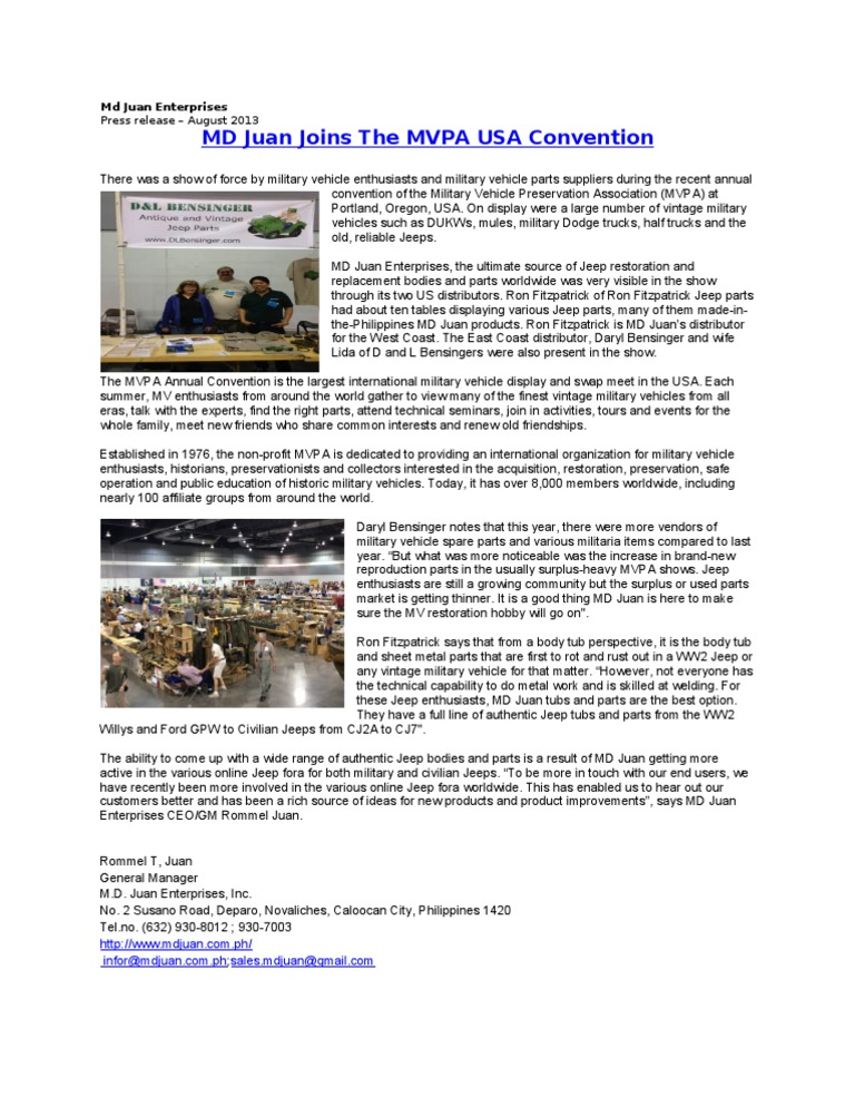 MD Juan Joins the MVPA USA Convention | Jeep | Vehicles