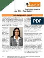 Asian MS Newsletter Autumn/Winter Issue, 2012
