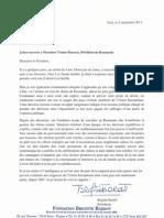 Scrisoarea deschisă a actriței Brigitte Bardot către președintele Traian Băsescu 5 septembrie
