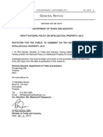 SOUTH AFRICA DRAFT NATIONAL POLICY ON INTELLECTUAL PROPERTY, 2013