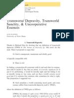 Plantinga - Transworld Depravity, Transworld Sanctity, & Uncooperative Essences