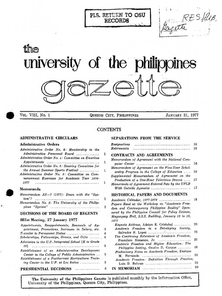UP Gazette 1977 Pdf Lecturer