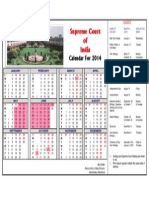 Supreme Court  of  India Calendar For 2014