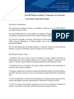 EPP Resolution on Freedom of Faith and Worship