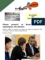 Obama Promete Ao Brasil Esclarecer Espionagem, Diz Assessor